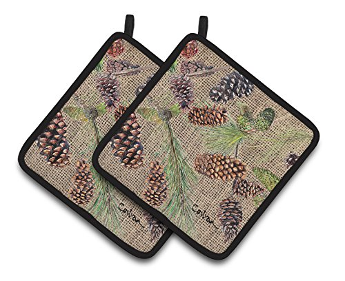 (Caroline's Treasures Pine Cones Pair of Pot Holders 8735PTHD, 7.5HX7.5W, Multicolor)