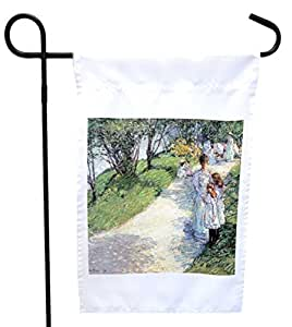 Rikki Knight Childe Hassam Art in Central Park, New York House or Garden Flag with 11 x 11-Inch Image, 12 x 18-Inch