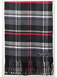 2 Ply 100 Cashmere Scarf Elegant Collection Made In Scotland Wool Solid Plaid Black Red Blue Zs831
