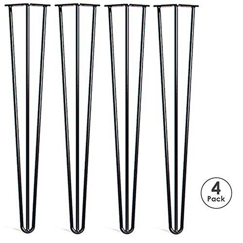 Locisne 28 Three-Rod horquilla Metal de las patas de la mesa,Acero Fundido Negro 9mm,Paquete de 4,Estilo Moderno,Comedor,Muebles,Accesorios para Los Muebles de Madera,cafe,comedor(28 3 rod)