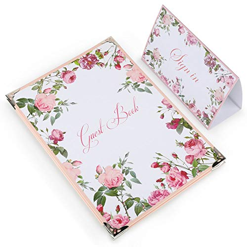 Lohodo Guest Book for Wedding | Foldable Sign in Book for Guests Large Size 9 x 13 Inches | Hardcover Bridal Registry Book | Floral Guestbook with Lines and Place Card