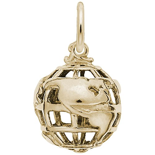 10k Yellow Gold Globe 3D Charm, Charms for Bracelets and (Gold 3d Globe Charm)