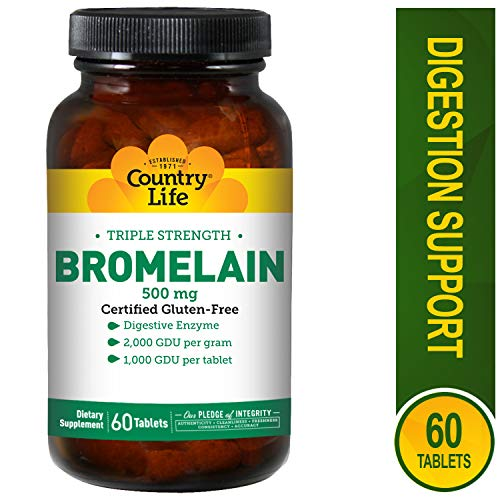 Bromelain 60 Tablets - Country Life - Natural Bromelain, 500 mg, 60 tablets