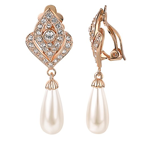 Yoursfs Vintage White Faux Ivory Pearl & Crystal Rhinestone Bridal Dangle Earrings Non Pierced Ears (Clip-on Earrings) (Vintage Earrings Clip On)