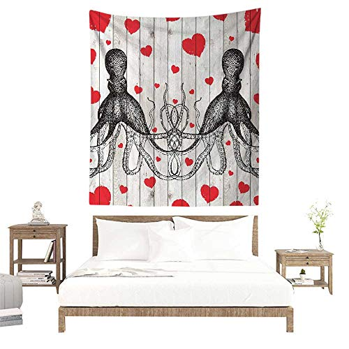 alisoso Tapestries for Sale,Octopus,Couple Lovers Girlfriend Boyfriend Holding Hands Kraken Tentacles Vintage Wooden Planks Art,Red Black White W32 x L32 inch Wall Decoration Tapestry Beach Mat
