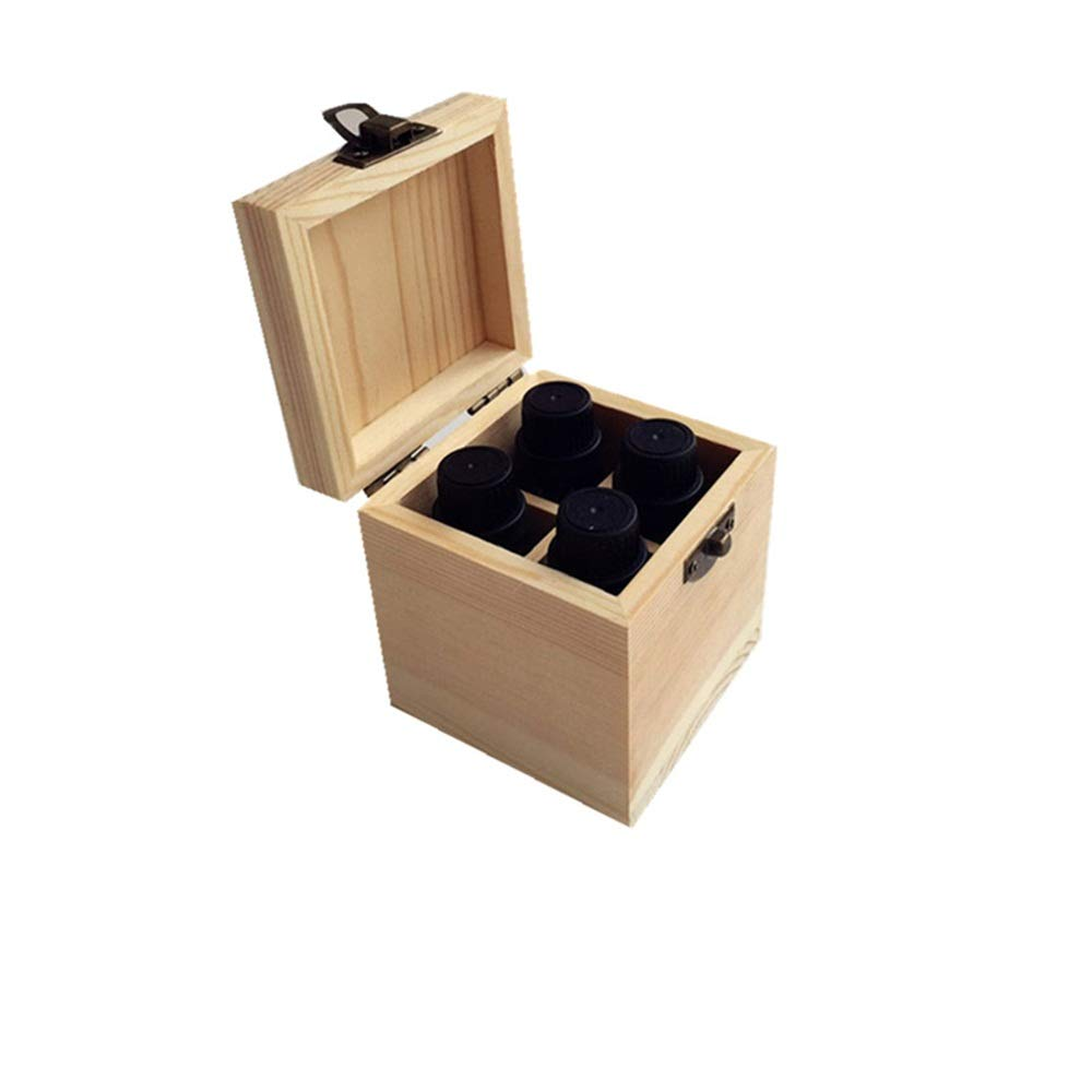 Zxcvlina-JJ 4 Slot Quality Wooden Essential Oil Storage Box Aromatherapy Products (Color : Natural, Size : 8X8X9CM) by Zxcvlina-JJ