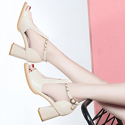 Coarse Jqdyl With D Fish Summer With Shoes Shoes Mouth High Sandals heels Women New beige High Shoes Heels Wild Shoes AwxUrOA7q