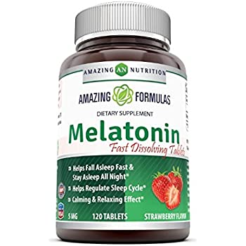 Amazing Nutrition Melatonin – 5 Mg Tablets - Best Choice Of Natural Sleep Aid Supplement – Promotes Calming And Relaxing Effect - 120 Tablets Per Bottle- ...