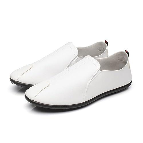 WEIHUIMEI - Mocasines para Hombre, Color Blanco, Talla 39 EU