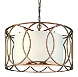 Troy Lighting Sausalito 5-Light Chandelier – Silver Gold Finish with Hardback Linen Shade