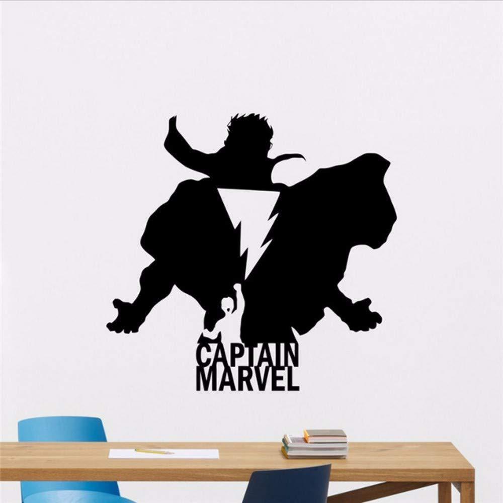 Waofe Capitán Marvel Tatuajes De Pared Silueta Logo Comics Cartoon ...