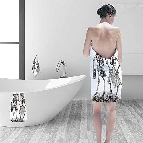 Luxury Plush Bath Towel The Dead Decor Festive Celebration Mexican Dancing Couple Skeleton Art Print Grey and High Absorbency by Printsonne