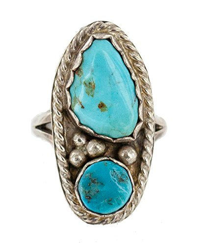 $160Tag Certified Authentic Silver Navajo Turquoise Native American Ring 16861 Made by Loma Siiva