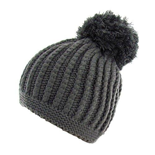 Color Invierno Gorro Gorro única Gran Talla Negro de gris Elegir a con borlas wYrrxFU5