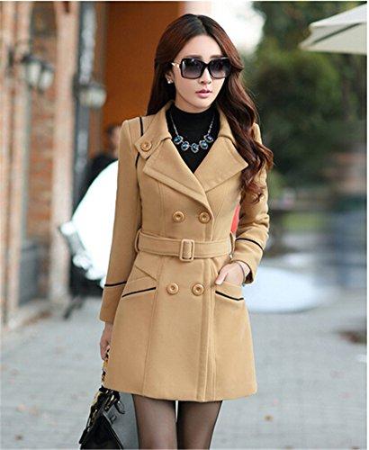 Youtobin Women's New Winter Dress-Coats Slim Long Woolen Coat M Camel