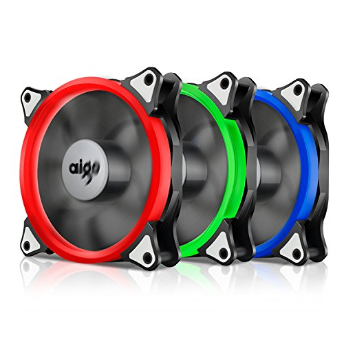 Aigo, R3 3-Pack RGB LED 120mm Adjustable Color Case Radiator Fan,Quiet Edition High Airflow Adjustable Color LED Case Fan for Computer Cases, CPU Coolers, and Radiators