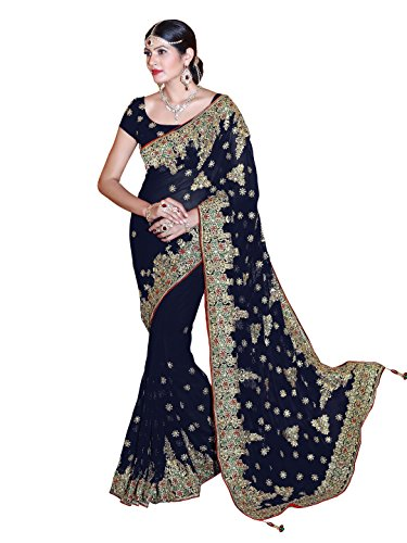Bridal Sarees - Sourbh Wedding Bridal Saree Mirchi Fashion Sari for Women Party Wear (3804_Navy Blue)