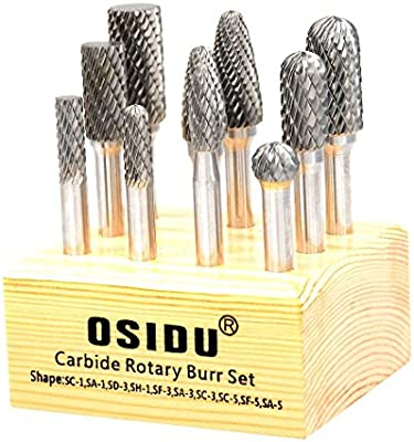 Pack of 5 OSIDU Carbide Rotary Burr Set 12MM Head with 1//4 Shank Double Cut Carbide Burr File Set for Die Grinder Drill Bits Metal Carving Polishing,Engraving,Drilling