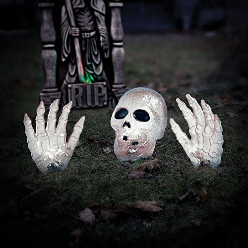 2 White Skull with Hand Halloween Prop Halloween Decoration