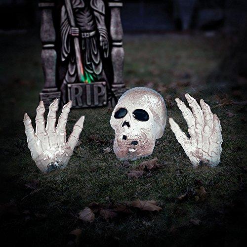 2 White Skull with Hand Halloween Prop Halloween Decoration