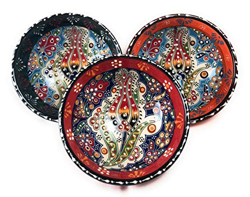 Handcrafted Ceramic Bowl Set, Assorted Design, Multicolor Set of 3, Handmade Hand Painted Turkish Bowls Medium Size (bowlset10)