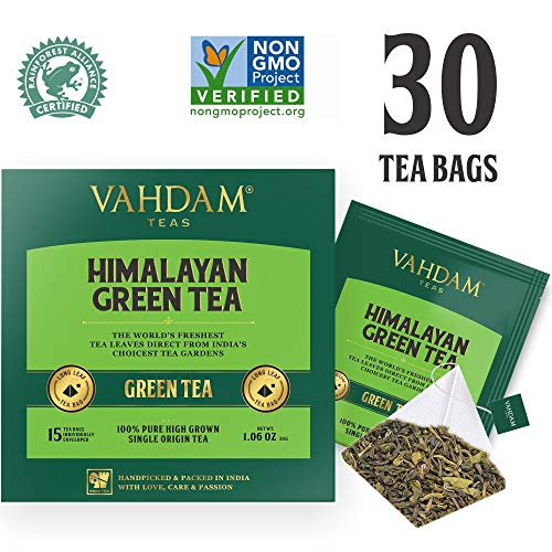 Organic Green Tea Leaves from Himalayas (30 Tea Bags), 100% Natural Weight Loss Tea, Detox Tea, Slimming Tea, ANTI-OXIDANTS RICH - Green Tea Loose Leaf - Brew Hot or Iced Tea - 15 Ct (Pack of 2)