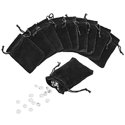 "3"" x 4"" Black Velveteen Sack Pouch Bags for Jewelry, Gifts, Event Supplies (50 Pouches) from Super Z Outlet"