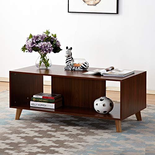 soges 47' Coffee Table/Console Table/TV Stand Living Room Entertainment Center Media Storage Console Premium Living Room Furniture, Walnut HHCT001-WN