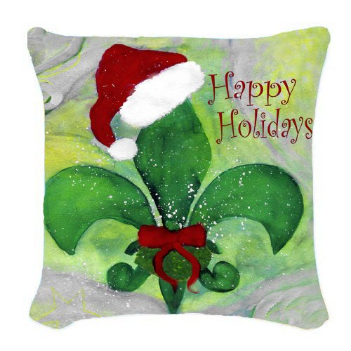 Santa Fleur De Lis Christmas Art Burlap Throw Pillow