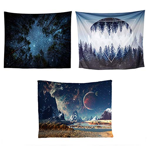 d91d8f2aadf4 Kingmall Tapestry Set, Forest Starry Tapestry & Sunset Forest and Mountains  & Galaxy Tapestry Planet Tapestry Night Sky Tapestry for Living Room ...