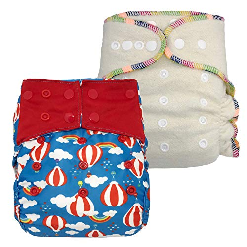 (Overnight Diaper Set: Waterproof Diaper Cover and Hemp Fitted Cloth Diaper, One Size with Snaps (Sky Adventure))