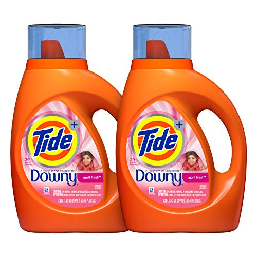 Tide Plus Downy April Fresh Scent Liquid Laundry Detergent, 46 Ounce, 24 Loads, 2 Count (Packaging May Vary)