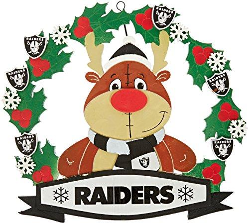 Oakland Raiders Nfl Door - FOCO Oakland Raiders 2012 Door Wreath With Eva Reindeer