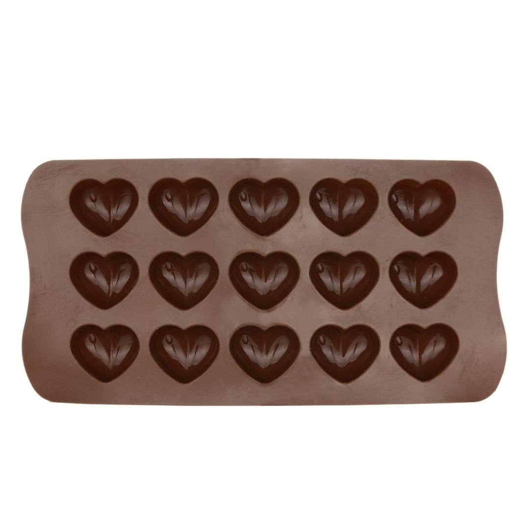 Weite Flexible Heart Shape Chocolate Mold Silicone Candy Mold 15 Ice Cube Tray Silicone Molds Cake Decoration Nonstick Jelly Ice Fondant Sugar Tool (Brown)