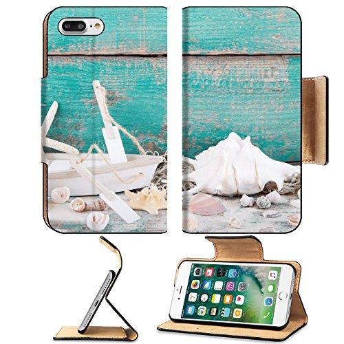 Liili Premium Apple iPhone 7 Plus Flip Pu Leather Wallet Case Wooden backgrond in