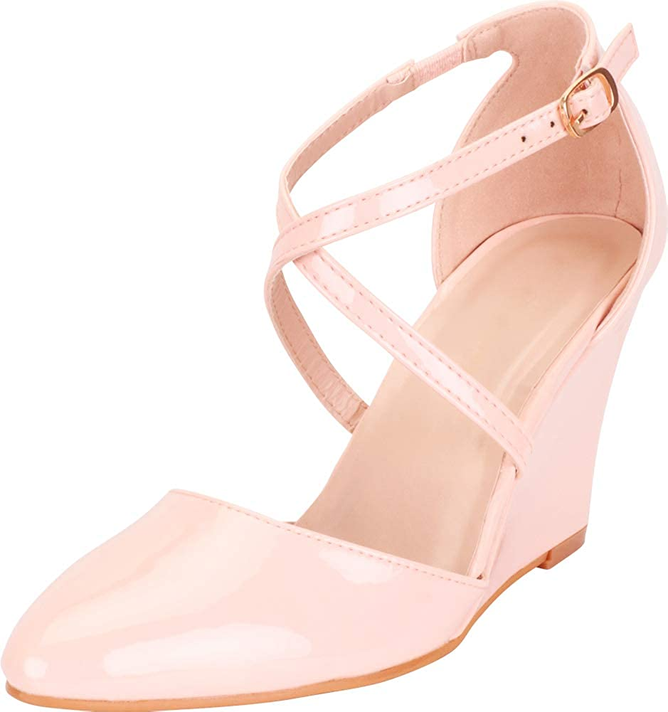 Pink Patent Pu Cambridge Select Women's Pointed Toe Crisscross Strappy Dress Wedge