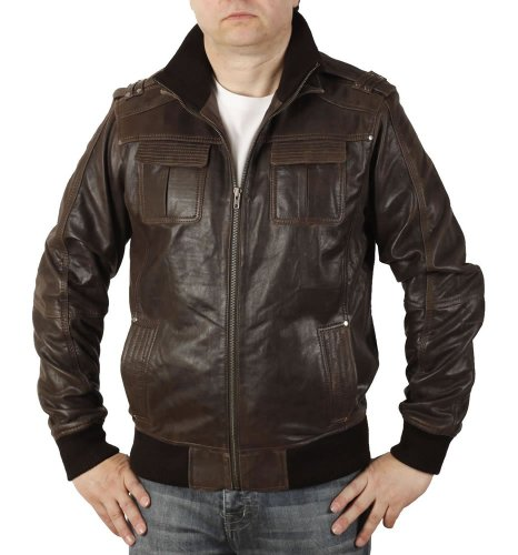 Double Collar Leather Bomber Jacket - 5