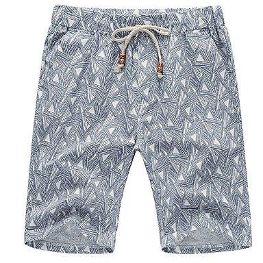 Men Pants Herren Einfach Mittlere Hüfthöhe Micro-elastisch Kurze Hosen Lose Hose Hahnentrittmuster