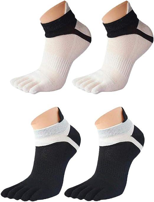 EQLEF Calcetines Cinco Dedos Calcetines de Running para Hombres Calcetines de Yoga para pies Blancos y Negros de Yoga-2 Pares: Amazon.es: Hogar