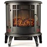 Regal Electric Fireplace - e-Flame USA 25 Inch Black Portable Electric Fireplace Stove with 1500W Space Heater. Realistic Flame and Log. Vintage Design for Corners