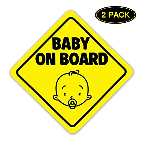 Baby on Board Sign for Car - HUATK Magnetic and Reflective Sticker, Cute Design Safety car Sticker for Children,Waterproof Baby on Board Sticker(2 Pack) (Magnet 12 Car Logo)