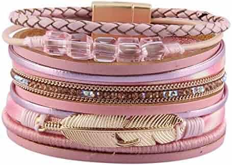 5e19974f8 Jenia Womens Leather Cuff Bracelets Feather Wrap Bracelet Gorgeous Crystal  Bangle Handmade Jewelry Bohemian Gift for