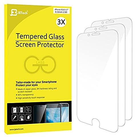 iPhone 6s/6 Screen Protector, JETech 3-Pack [3D Touch Compatible] Premium Tempered Glass Screen Protector Film for Apple iPhone 6 and iPhone 6s (Iphone 3 Protector)
