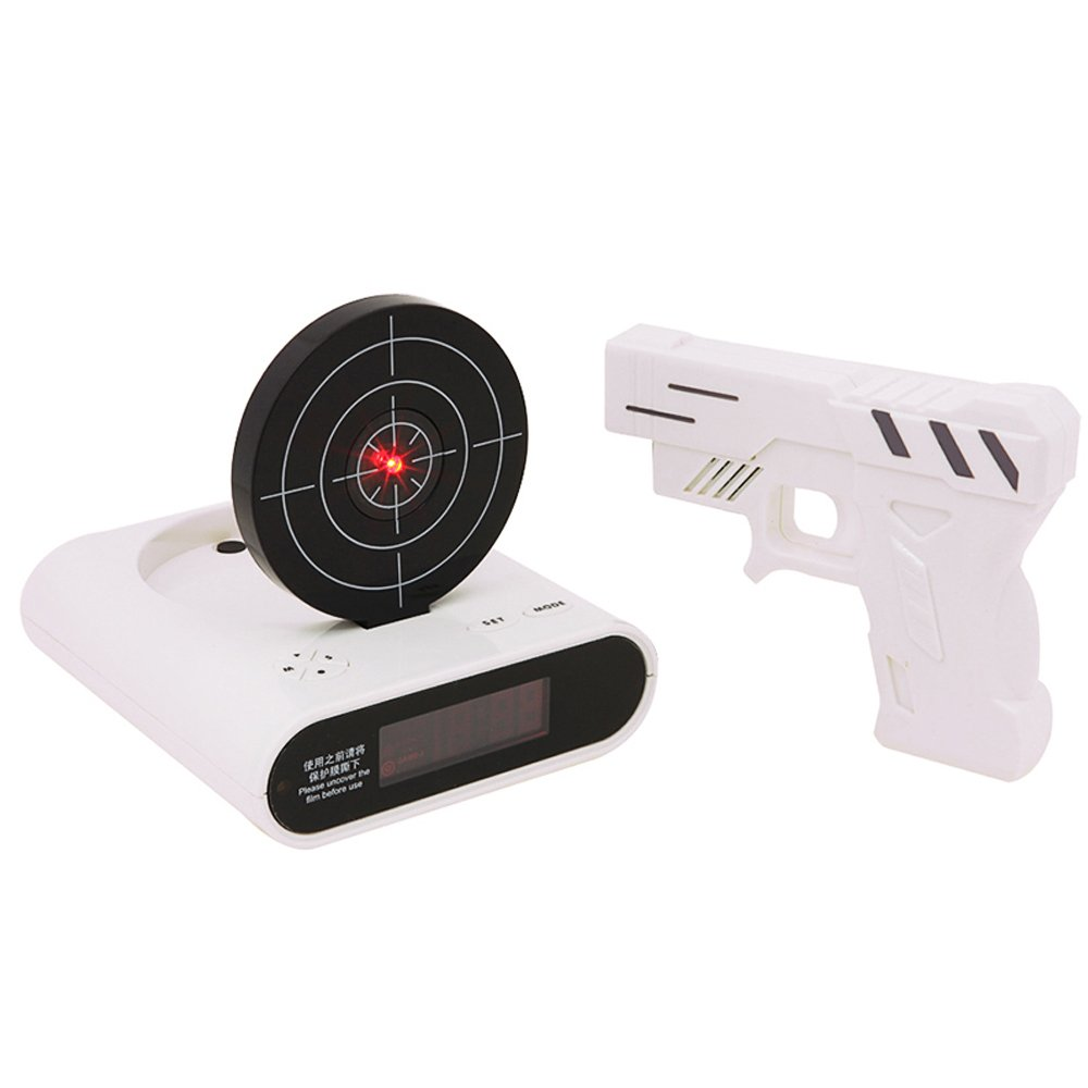 Target Alarm Clock With Gun Infrared target and Realistic Sound Effects-White