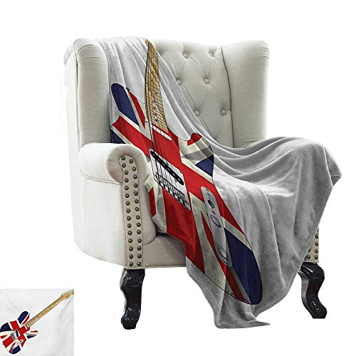BelleAckerman Fuzzy Blanket Union Jack,Classical Electric Guitar UK Flag Great Britain Music Instrument,Pale Brown Silver Black for Bed & Couch Sofa Easy Care 60