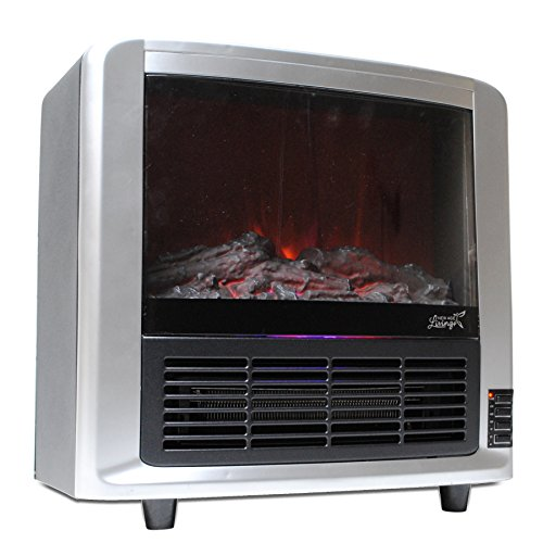 New Age Living Modern Portable Fireplace Space Heater | For Indoor Home Or Office Use | Small & Compact, Easy To Carry & Move (Modern Silver)