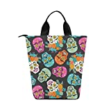 InterestPrint Day of the Dead Nylon Cylinder Lunch Bag Tote Shopping Handbag, Mexican holiday Reusable Large Lunchbox Grocery Bag