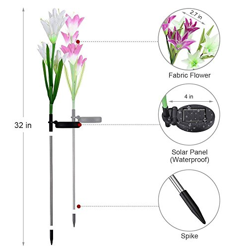 SW SAPPYWOON Outdoor Solar Flower Lights, 2 Packs Solar Garden Stake Lights with 8 Lily Flowers, Multi-Color Changing LED Solar Outdoor Garden Lights for Garden, Patio, Backyard (Purple and White) by SW SAPPYWOON (Image #1)