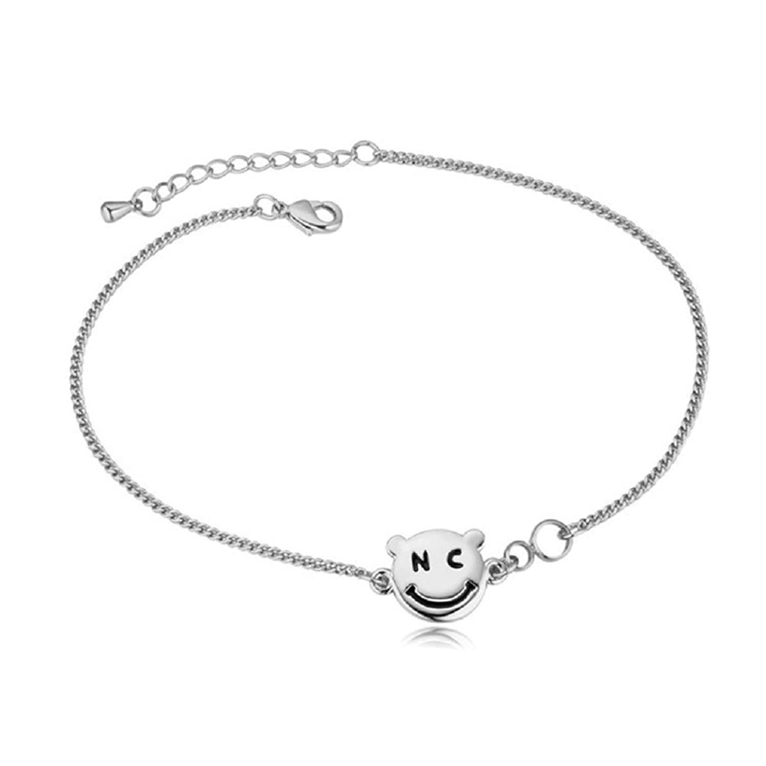 Power Wing Simple Smile Face Anklets,Anklet Infinity Symbol for Women Fashion Barefoot Sandal Beach Foot Jewelry
