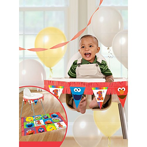 - Amscan 1st Birthday High Chair Decorating Kit Party Supplies Elmo Sesame Street Fun to Be One! One Size, Multicolor